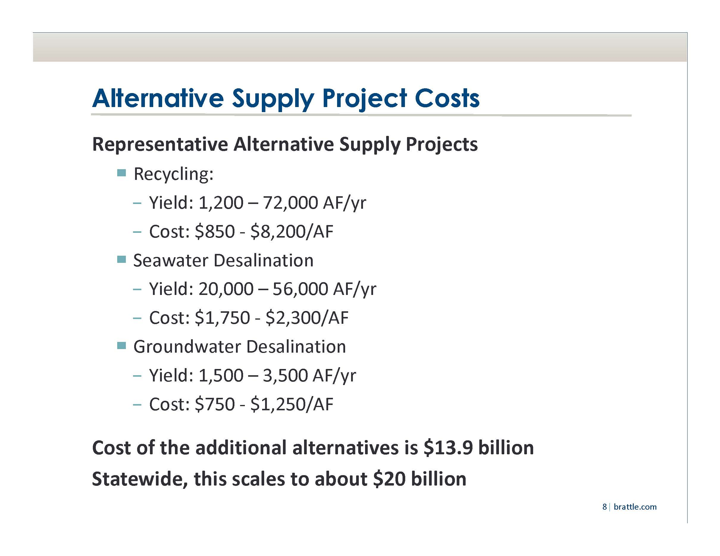 BDCP vs local water supply alternatives Dr David Sunding