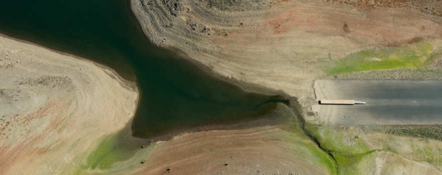 Folsom Lake aerial view during the drought shows an inoperable launch ramp and dock on September 5th, 2014.