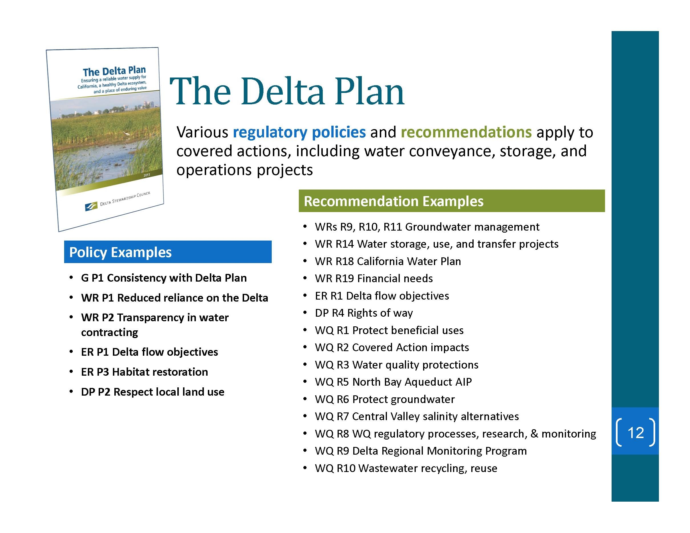 DELTA STEWARDSHIP COUNCIL: Changes made to Conveyance