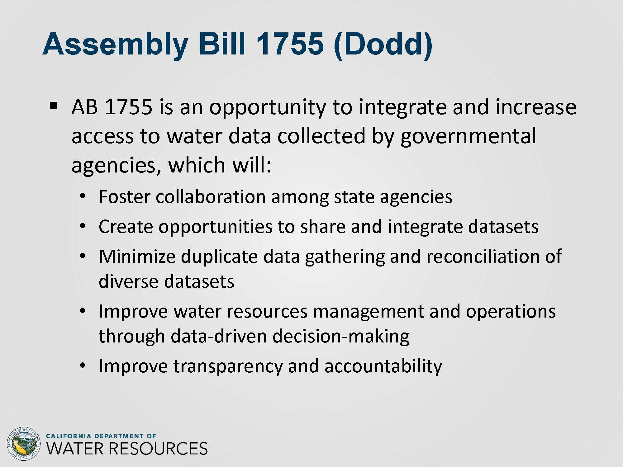 CA WATER COMMISSION: Implementing AB 1755: The Open and