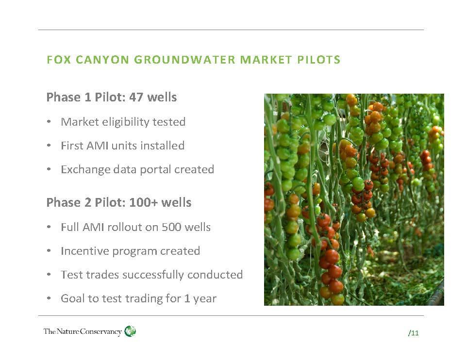 GROUNDWATER MARKETS: A case study of the Fox Canyon